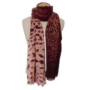 "Indigo Wool/Silk Gradient Print Wrap/Scarf 40""x76"""